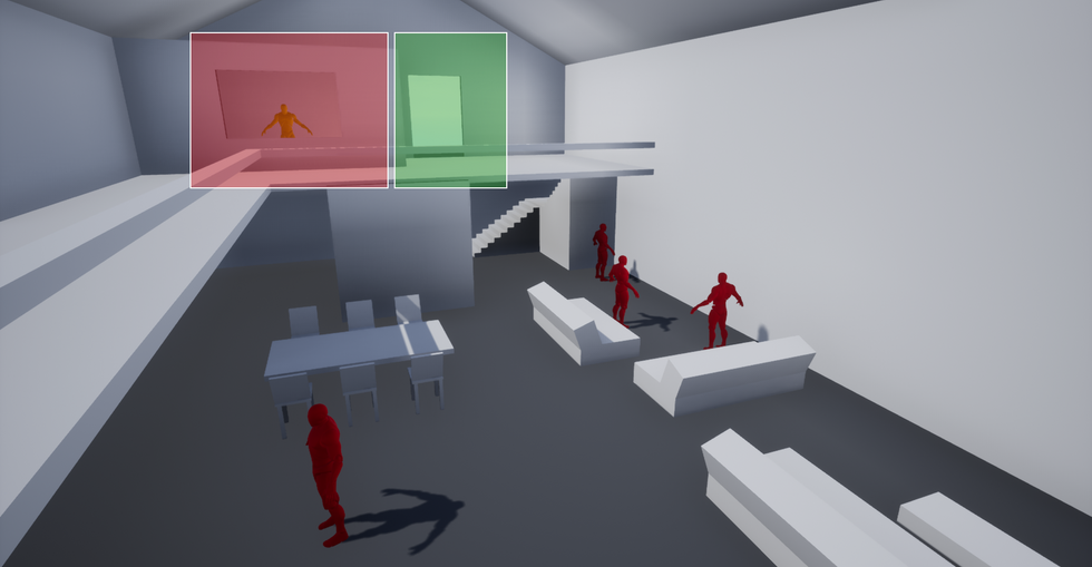 Once entering the main building, players spot the high value target on the upper floor in an office. Verticality is used here to assert importance/dominance over the other enemy gang members