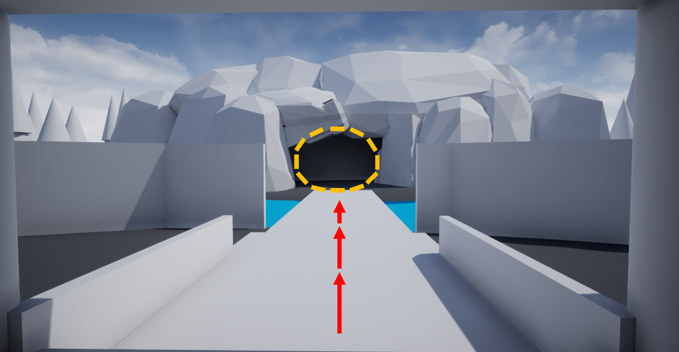 The narrowed path and the circular shape to the cave opening is used to naturally guide the player into the cave.