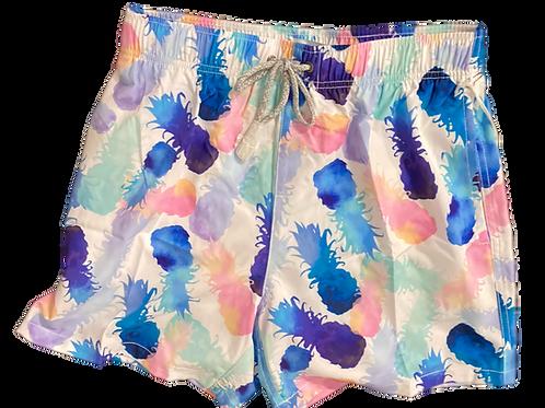 Men's Vintage Summer Pineapple Print Swim Trunks