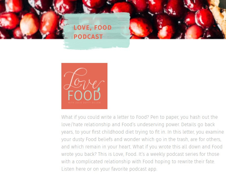Julie Dillion, love food podcast, intuitive eating, disordered eating, body image, diet culture, mindfulness, mindful eating