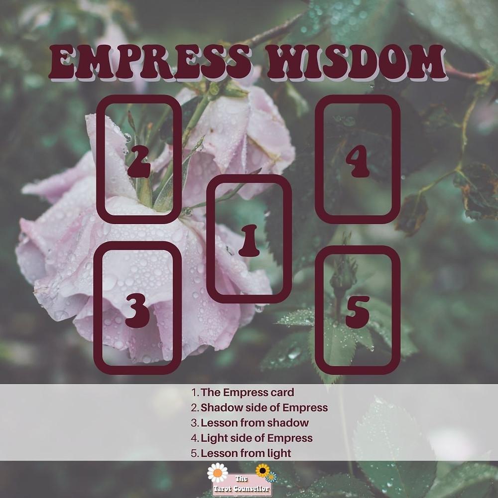 Empress Wisdom Tarot spread with 5 card placements. Card 1 represents the Empress, Card 2 represents her shadow, Card 3 represents the lesson from the shadow, Card 4 represents her light side, card 5 represents the lesson from the light