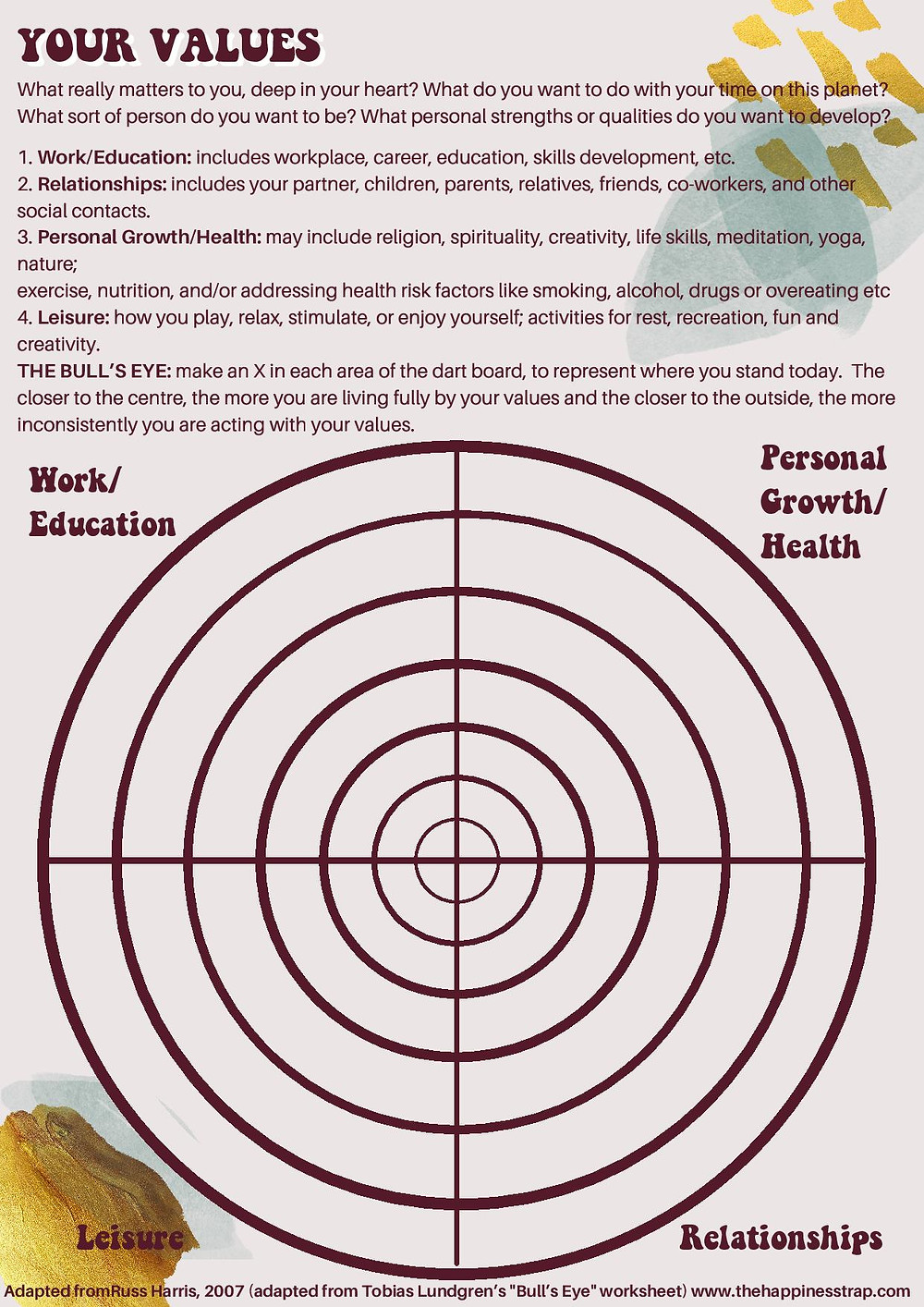 'Your Values' worksheet focusing on work + education, relationships, personal growth and leisure