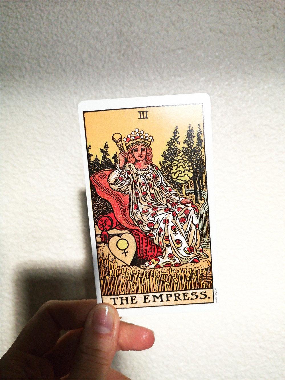 The Empress Tarot card featuring image of woman set on lush cushions, surrounded by trees, wheat fields and a river. She holds a sceptre and has a heart with the Venus symbol on it.
