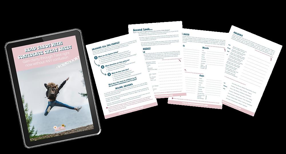 Mock up of Tarot Cheat Sheet and Workbook