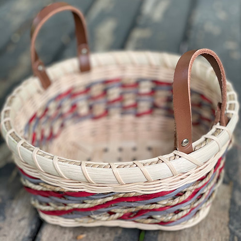 Small Gathering Basket with Leather Handles