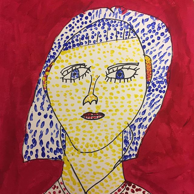 Lichtenstein inspired self portraits for famous artists week! #artcamp #kidsart #kidsart