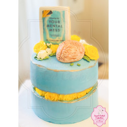 Fault Line  Cake with Handcrafted Flowers