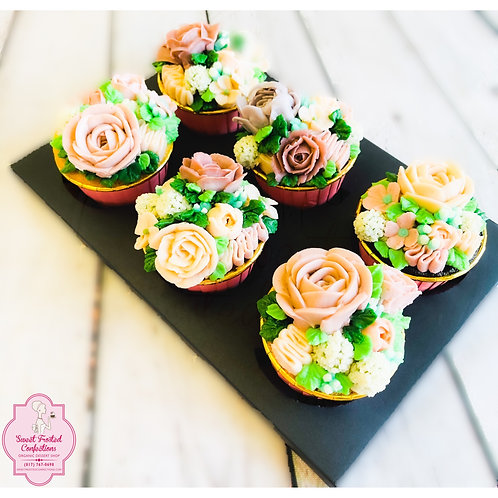 6 Floral Handcrafted Cupcakes