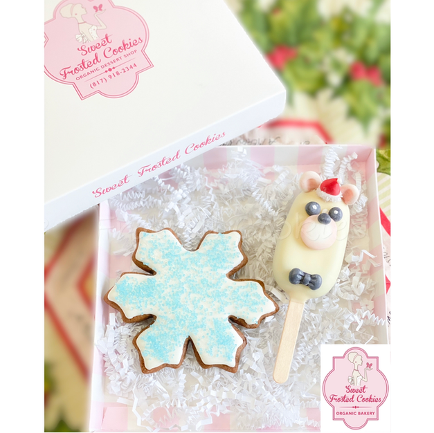 Holiday Cakesicles with Decorated Cookie
