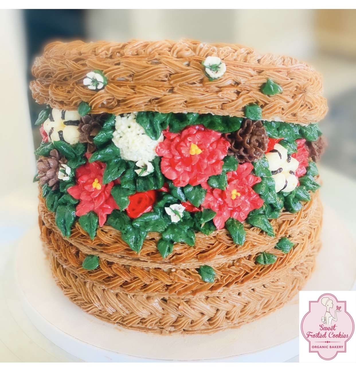 Holiday hand weave basket cake