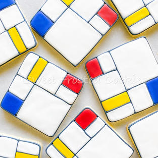 Mondrian Inspired Decorated Cookies