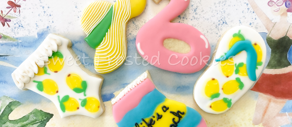 Free Pre-recorded Summer Vibes Cookie Decorating Class Royal Icing Consistencies & Colors Used