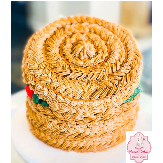 Holiday hand weave basket cake