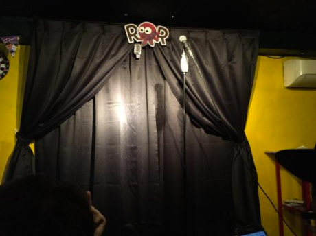 The modest first stage for Osaka's ROR Comedy Club.