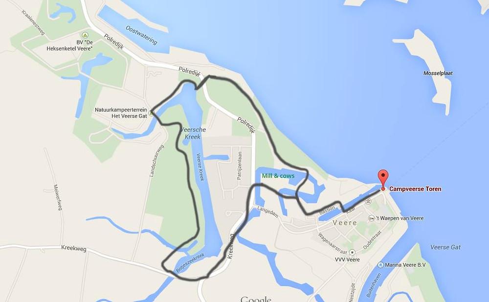 Plan de la promenade à pied autour de Veere