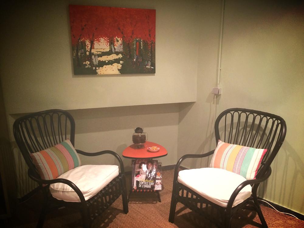 Salle d'attente d'Oriental Therapy à Ixelles