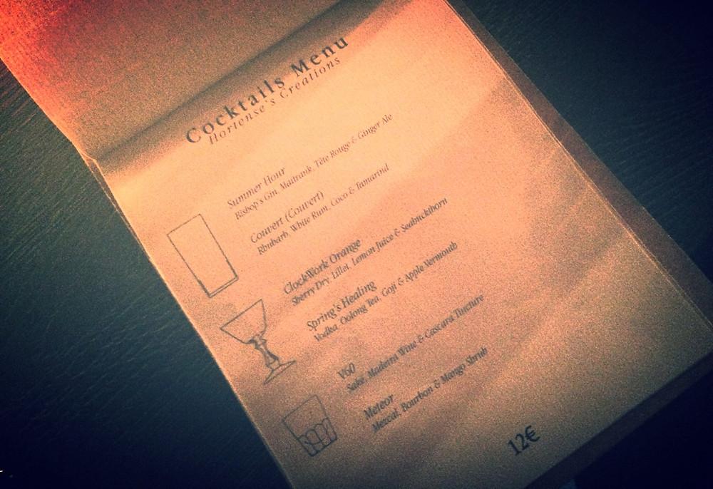 Cocktail menu Hortense
