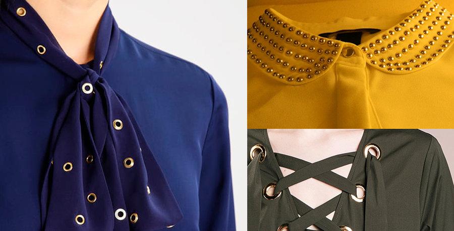 Ojalones y remaches en detallesde ropa