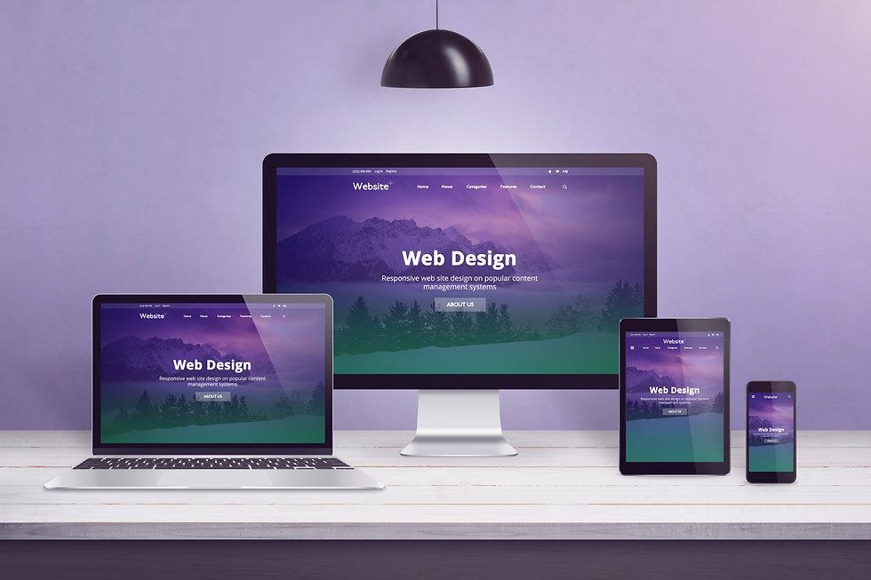 Flat design web site concept on multiple