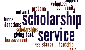 This is a wordcloud about the Scholarship and Service Committee.