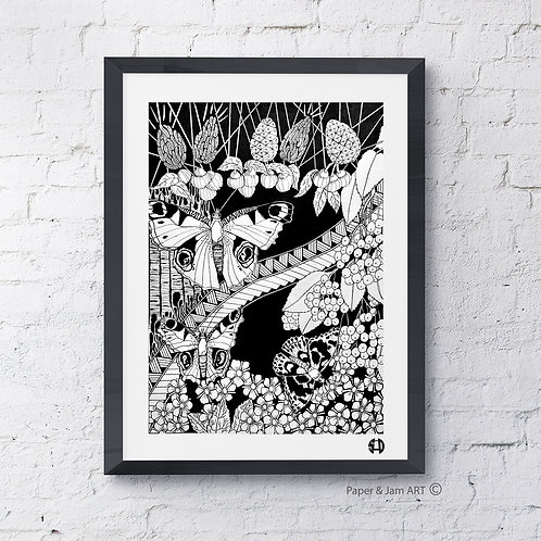 Elderberry, Blaeberry and Butterflies (Limited Edition Print)
