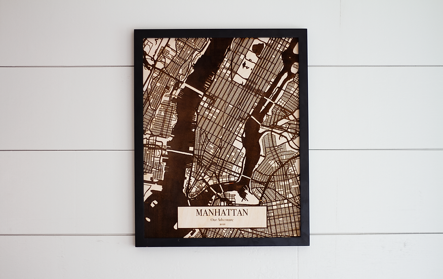 Custom Engraved City Street Map + Frame