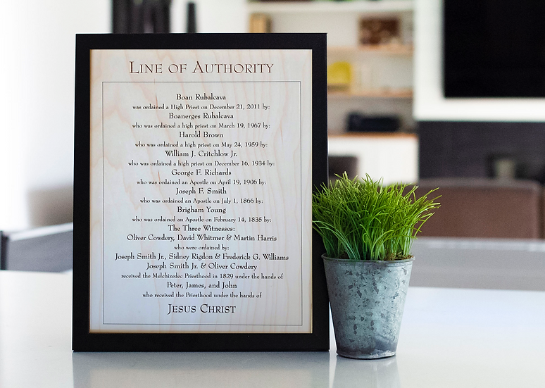Custom Engraved Wooden Line of Authority + Frame