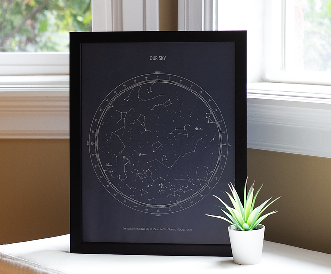 Custom Engraved Glass Star Map + Frame