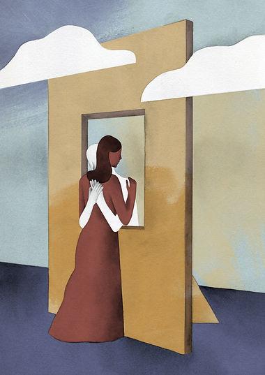 laura angelucci illustrazione ragazza nuvole