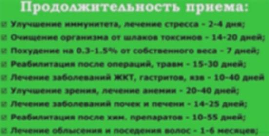 Продолжительность приёма сока ростков пшеницы