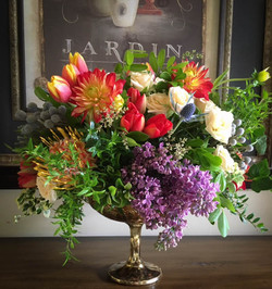 Desiray Golden Lush Compote Floral Bouquet by Rhonda Rose Floral