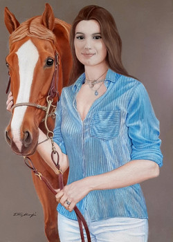 Portrait of my daughter Angela with the horse Alba