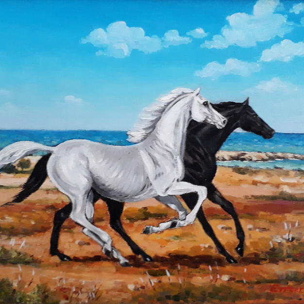 SALENTO LANDSCAPE WITH GALLOPING HORSES NEAR PUNTA PIZZO (GALLIPOLI)