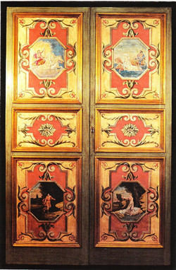WOODEN DOOR GILDED WITH PURE SILVER