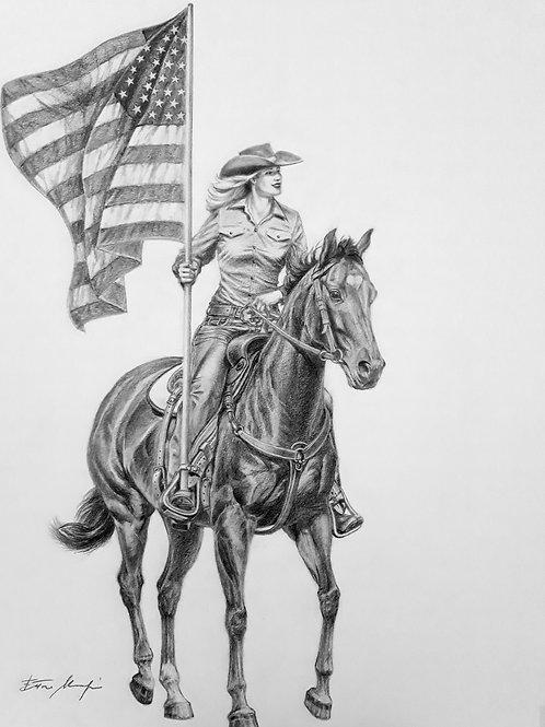 AMERICAN COWGIRL , pencil drawing , cm. 70 x 50( 28 x 20 in)
