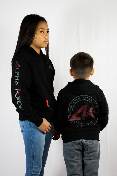 Youth Black Pull-over Hoodie (Unisex)