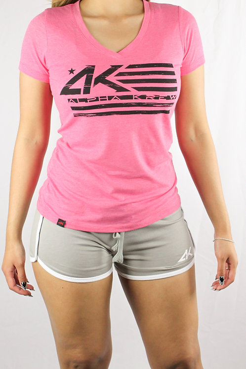 Pink AK Flag Womens V-Neck