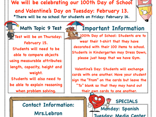 Kindergarten Newsletter 2/12-2/16