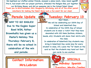 Kindergarten Newsletter 2/5-2/9