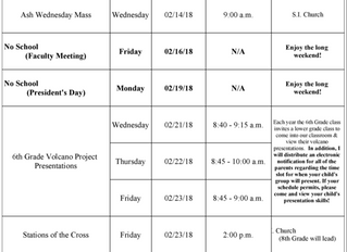6th Grade Updates 2/9