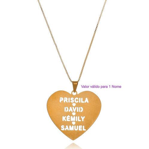Colar Folheado Personalizado com Placa em Formato de Coração com Nomes Vazados