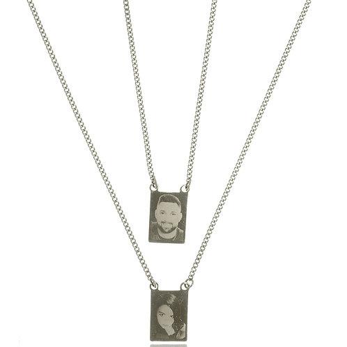 Colar (escapulário) Inox Personalizado com Placas Fotogravadas