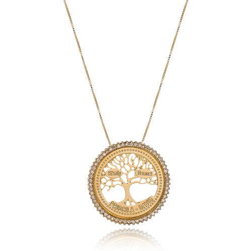 Colar Folheado Personalizado com Mandala de Árvore da Vida com Nomes Gravados