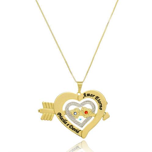 Colar Folheado Personalizado com Pingente Coração Cravado,Ouro Branco,Zircônia