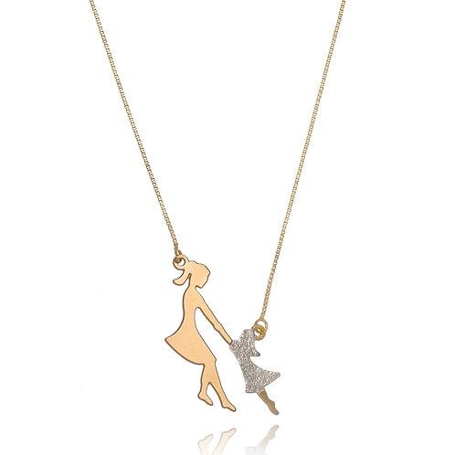Colar Folheado Personalizado com Pingente de Mãe e Filha, Detalhes Ouro Branco