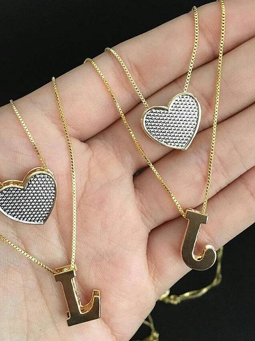 Colar Folheado Personalizado Duplo com Coração em Ródio Branco e Inicial Lisa