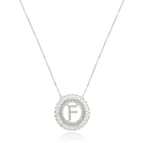 Colar Folheado Personalizado com Mandala de Inicial Cravejada em Zircônia