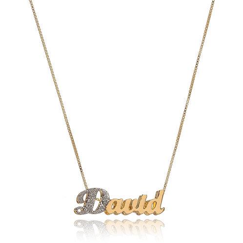 Colar Folheado Personalizado de Nome com a Primeira Letra Banhada a Ouro Branco