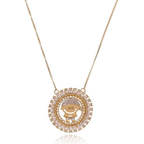 Colar Folheado Personalizado com Mandala de Menino(a), com Ouro Branco-Zircônia