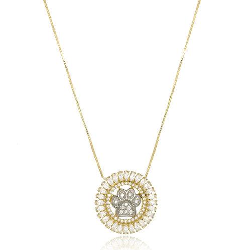 Colar Folheado Personalizado com Mandala de Patinha Banhada Ouro Branco,Zircônia